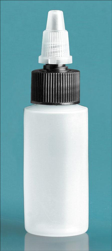 1 oz Natural LDPE Cylinders w/ Black/Natural Twist Top Caps