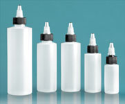 LDPE Plastic Bottles, Natural Cylinder Bottles w/ Black/Natural Twist Top Caps