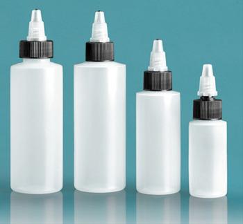 Plastic Bottles, Natural LDPE Cylinder Bottles w/ Black/Natural Twist Top Caps