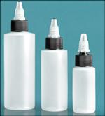LDPE Plastic Bottles, Natural Cylinder Bottles w/ Black/Natural Twist Top Caps