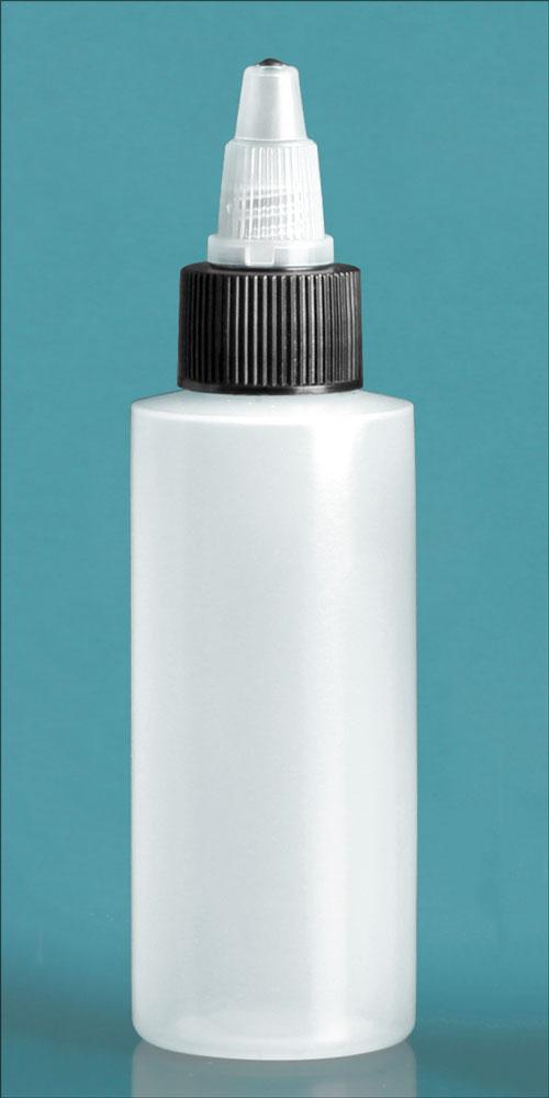 2 oz Natural LDPE Cylinders w/ Black/Natural Twist Top Caps