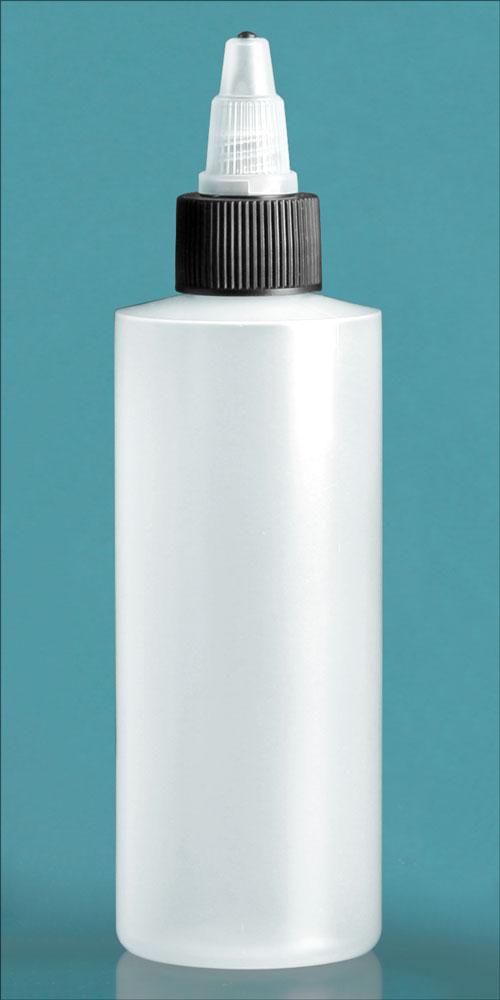 4 oz Natural LDPE Cylinders w/ Black/Natural Twist Top Caps