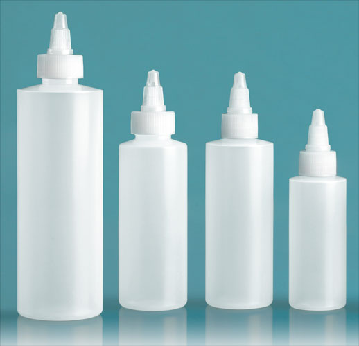 LDPE Plastic Bottles, Natural Cylinder Bottles w/ Natural Twist Top Caps