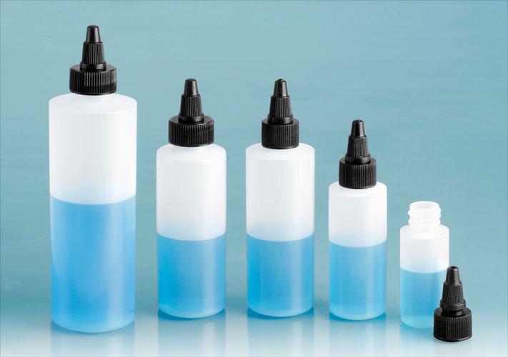 LDPE Plastic Bottles, Natural Cylinder Bottles w/ Black Twist Top Caps
