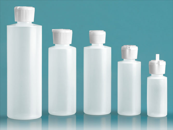 LDPE Plastic Bottles, Natural Cylinder Bottles w/ Flip Top Dispensing Caps