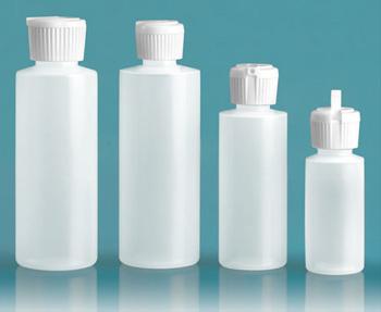 Plastic Bottles, Natural LDPE Cylinder Bottles With Flip Top Dispensing Caps