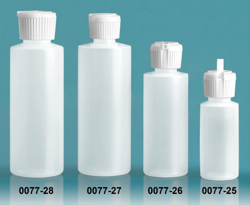 Plastic Bottles, Natural LDPE Cylinder Bottles With Flip Top Dispensing Caps
