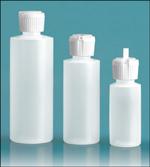 LDPE Plastic Bottles, Natural Cylinder Bottles w/ Flip Top Dispensing Caps