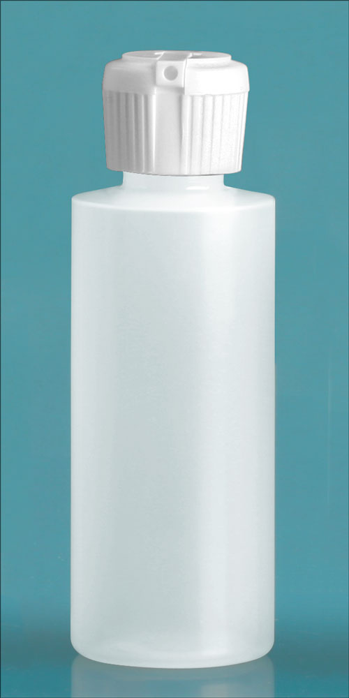 2 oz Natural LDPE Cylinder Squeeze Bottles w/ Flip Top Dispensing Caps