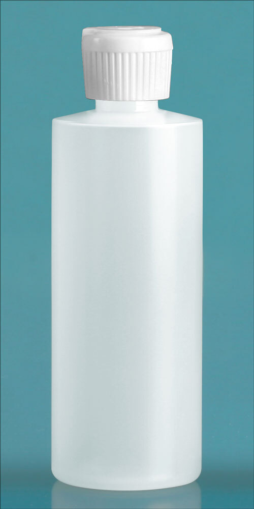 Natural LDPE Cylinder Squeeze Bottles w/ Flip Top Dispensing Caps