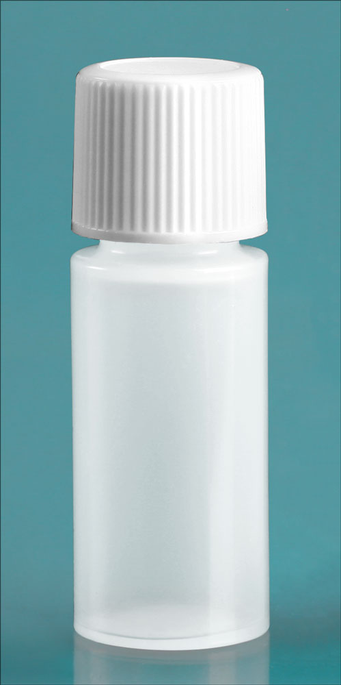 2 dram w/ White Cap Natural LDPE Cylinders Bottles w/ White Screw Caps