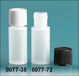 Plastic Bottles, Natural LDPE Cylinder Bottles w/ Screw Caps