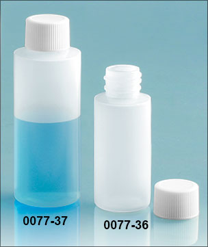 Plastic Bottles, Natural LDPE Cylinder Bottles w/ White Ribbed PE Lined Screw Caps