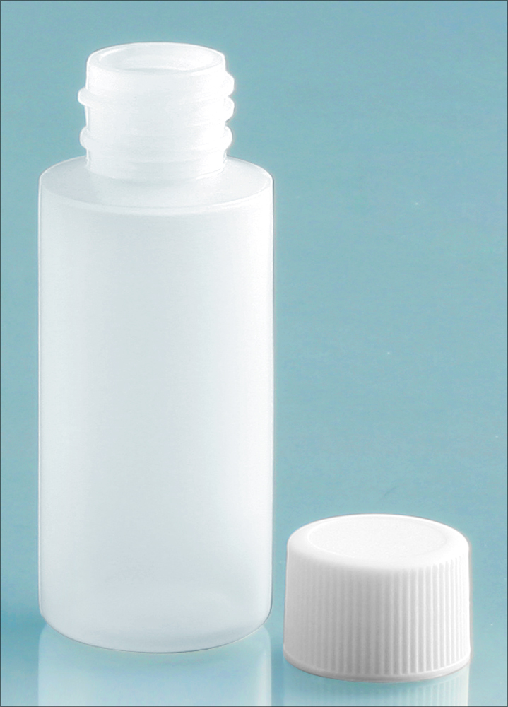 Natural LDPE Cylinders with White Ribbed PE Lined Screw Caps