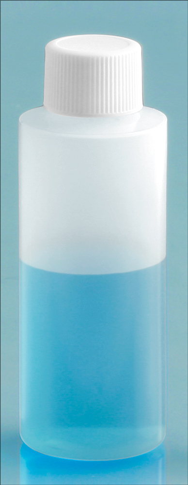 2 oz Natural LDPE Cylinders with White Ribbed PE Lined Screw Caps