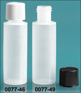 Plastic Bottles, Natural LDPE 1/2 oz Cylinder Bottles w/ Screw Caps
