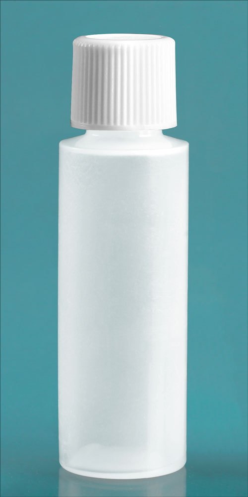 Natural LDPE Cylinder Round Bottles w/ White Screw Caps