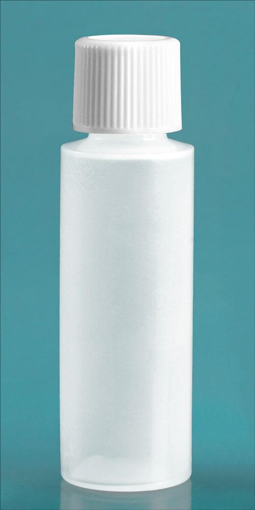 Natural LDPE Cylinder Round Bottles w/ White Screw Caps