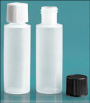 LDPE Plastic Bottles, Natural Cylinder Bottles w/ Screw Caps