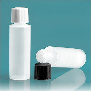 LDPE Plastic Bottles, Natural Cylinder Bottles w/ Caps and Orifice Reducer