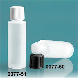 Plastic Bottles, Natural LDPE 1/2 oz Cylinder Bottles With Caps and Orifice Reducers