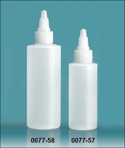 Plastic Bottles, Natural LDPE Cylinder Bottles With Natural Twist Top Caps