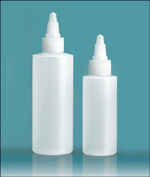 LDPE Plastic Bottles, Natural Cylinder Bottles w/ Natural Twist Top Caps