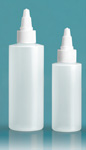 LDPE Plastic Bottles, Natural Cylinder Bottles w/ White Twist Top Caps