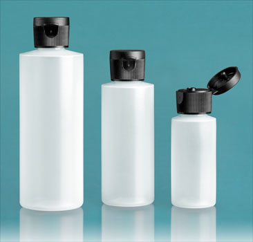 Plastic Bottles, Natural LDPE Cylinder Bottles With Black Ribbed Snap Caps