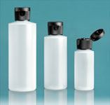 LDPE Plastic Bottles, Natural Cylinder Bottles w/ Black Ribbed Snap Caps