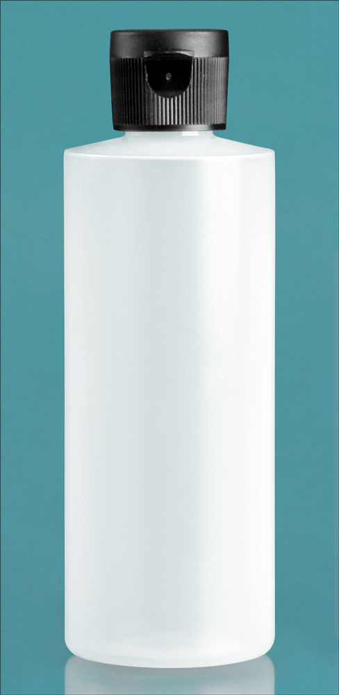 Natural LDPE Cylinders w/ Black Ribbed Snap Caps