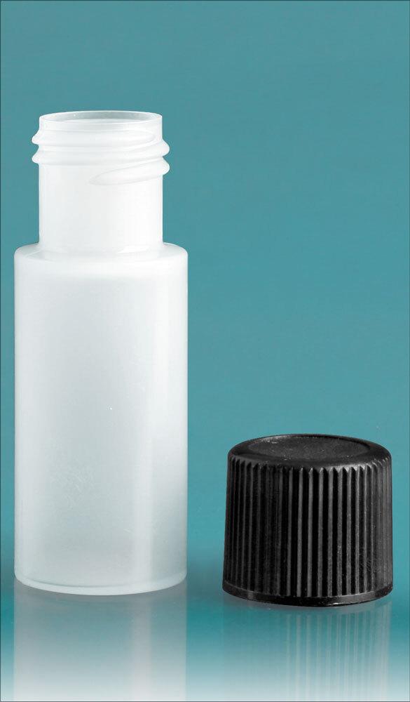 Natural LDPE Cylinders Bottles w/ Black Screw Caps