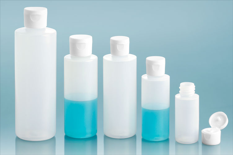 LDPE Plastic Bottles, Natural Cylinder Bottles w/ White Ribbed Snap Caps