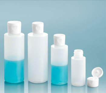 Plastic Bottles, Natural LDPE Cylinder Bottles With White Ribbed Snap Caps