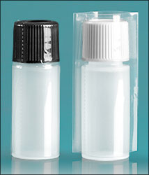 LDPE Plastic Bottles, Natural Cylinder Bottles w/ Plastic Ribbed Caps and  Shrink Bands