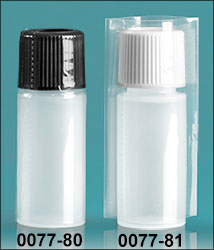 Plastic Bottles, Natural 1/4 oz LDPE Cylinder Bottles w/ Caps and Clear PVC Tamper Evident Shrink Bands