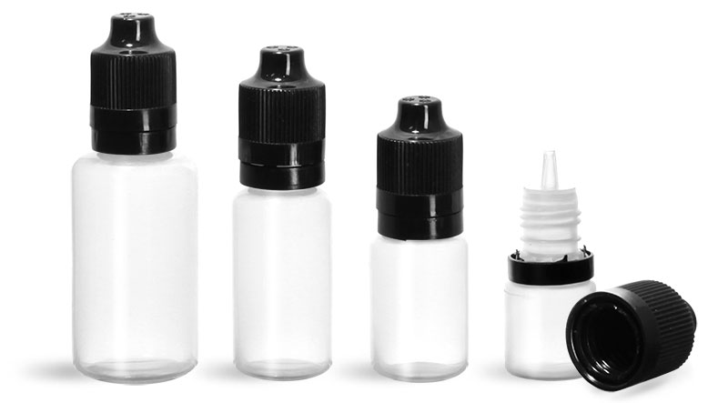 LDPE Plastic Bottles, Natural Dropper Bottles w/ Dropper Inserts & Black Tamper Evident Child Resistant Caps