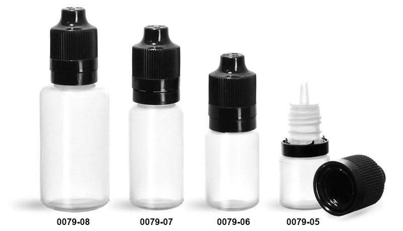 Plastic Bottles, Natural LDPE Dropper Bottles w/ Dropper Inserts & Black Tamper Evident Child Resistant Caps