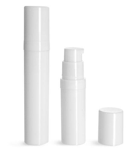 Plastic Bottles, White Polypro Airless Pump Bottles w/ White Polypro Caps