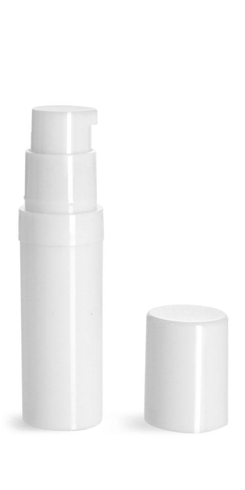5 ml Plastic Bottles, White Polypro Airless Pump Bottles w/ White Polypro Caps