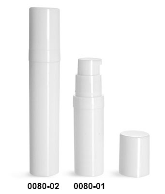 Plastic Bottles, White Polypro Airless Pump Bottles w/ White Polypro Caps