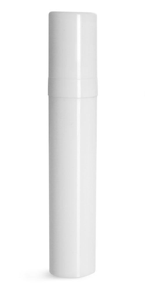 10 ml Plastic Bottles, White Polypro Airless Pump Bottles w/ White Polypro Caps