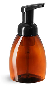 Plastic Bottles, Amber PET Bottles w/ Black Foamer Pumps
