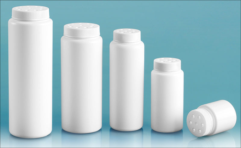 HDPE Plastic Bottles, White Powder Style Bottles w/ White Twist Top Sifter Caps