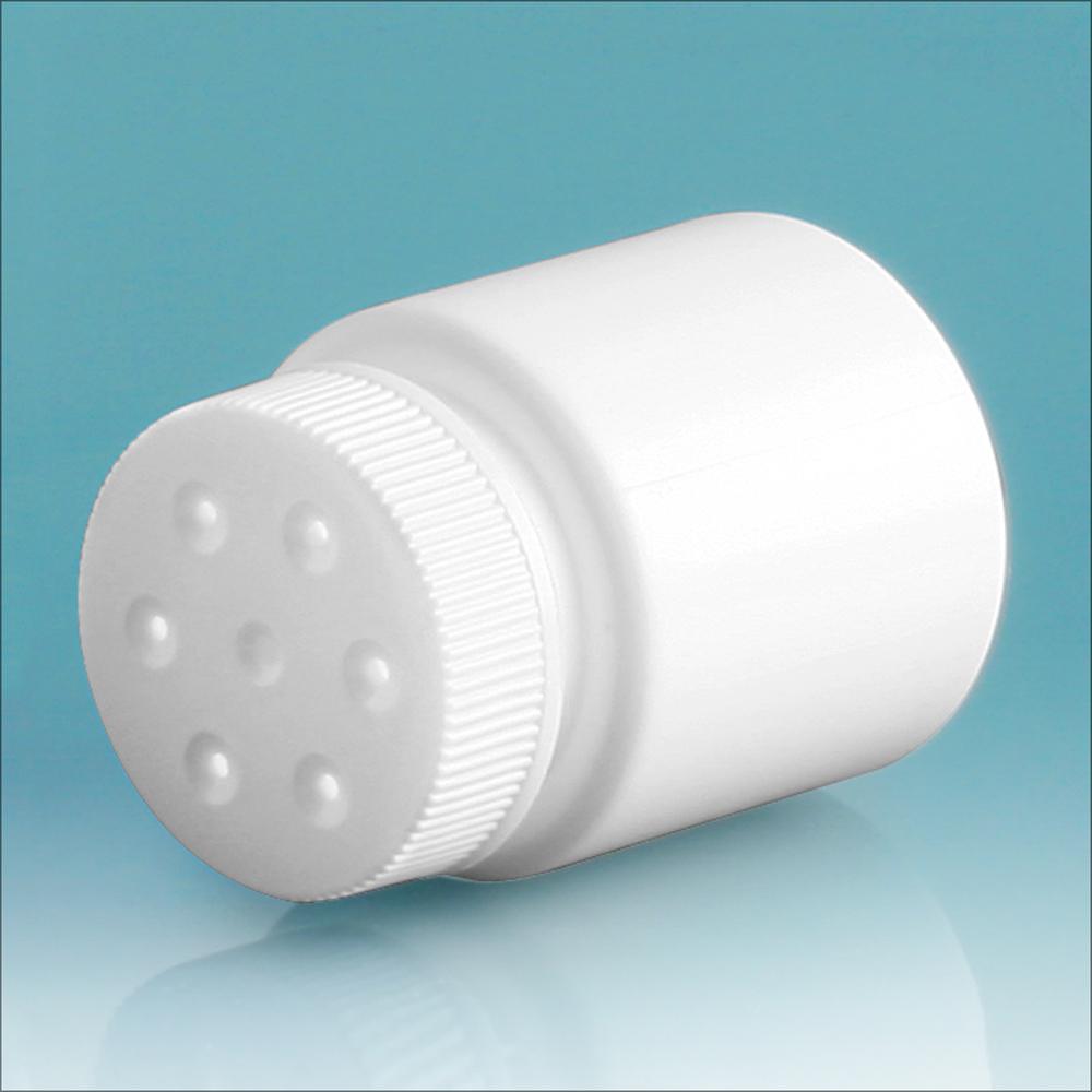 30 cc White HDPE Powder Style Bottles w/ White Twist Top Sifter Caps