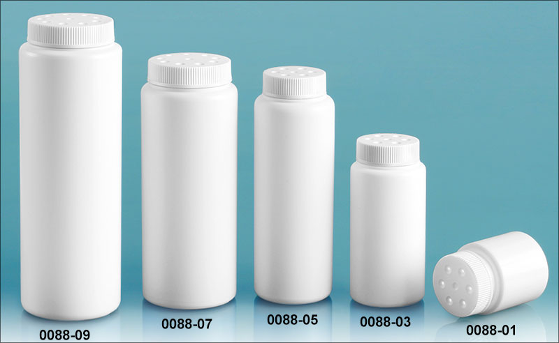 Plastic Bottles, White HDPE Powder Style w/ White Twist Top Sifter Caps