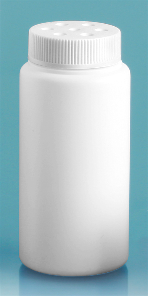 3 oz White HDPE Powder Style Bottles w/ White Twist Top Sifter Caps