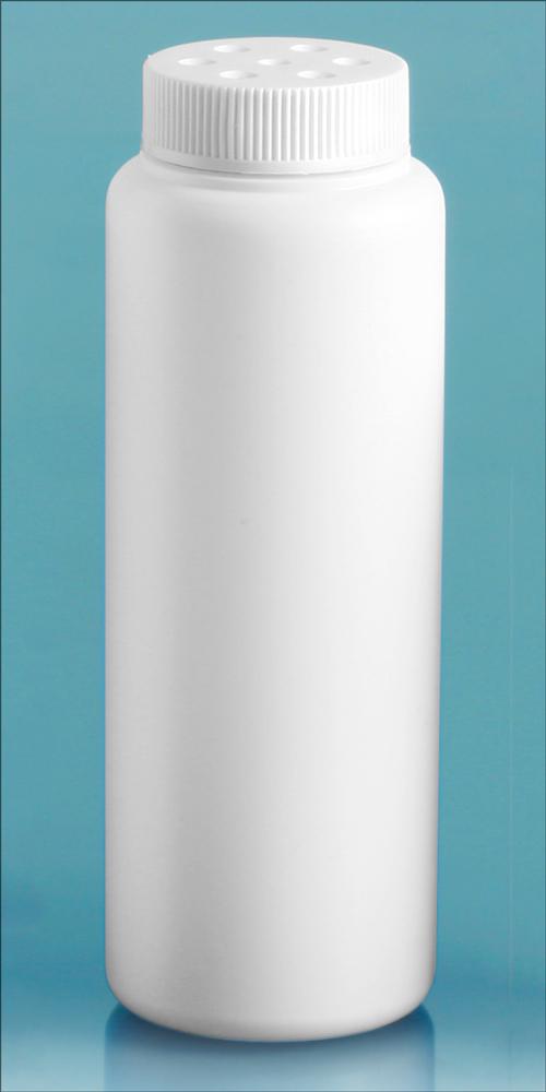 4 oz   White HDPE Powder Style Bottles w/ White Twist Top Sifter Caps