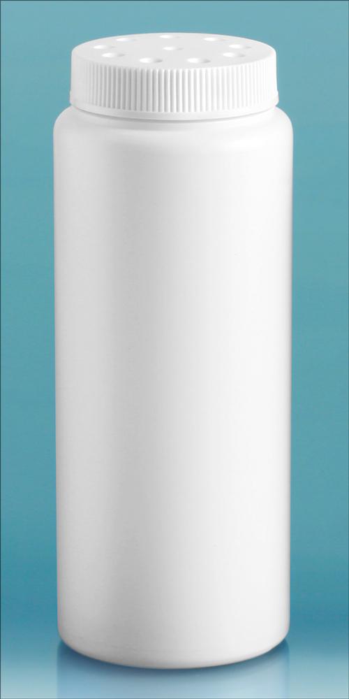 6 oz  White HDPE Powder Style Bottles w/ White Twist Top Sifter Caps