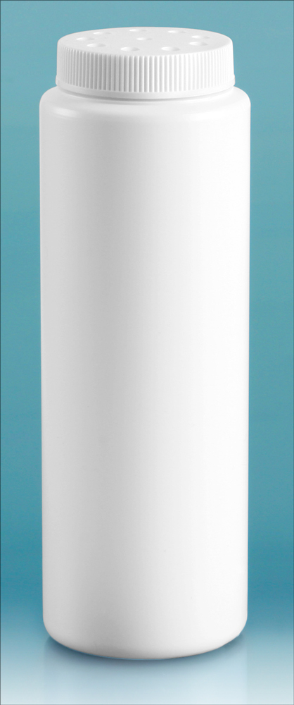 White HDPE Powder Style Bottles w/ White Twist Top Sifter Caps